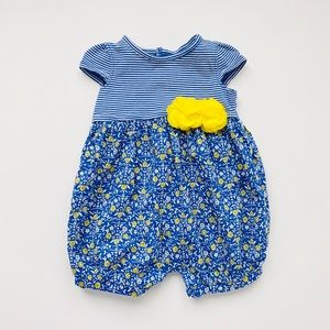 NWOT Blue & Yellow Floral Romper with Blossoms